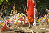 Prayer flags in Songkran Festival  on sand pagoda — Stock Photo