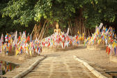 Tung or Northern thai traditional flag on sand pagoda — 图库照片