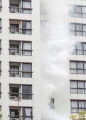 Condominium or apartment burning. — Stock Photo