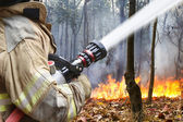 Firefighters helped battle a wildfire — Stockfoto