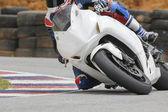 гоночный велосипед rider, опираясь в быстро угол на трек — Стоковое фото