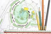Landschaftsarchitekten entwerfen auf Plan du Site-Analyse — Stockfoto