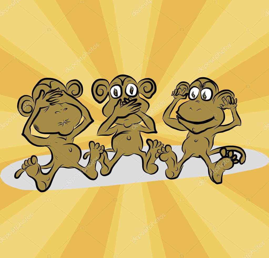 три обезьяны рисунки