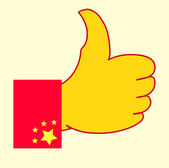 Chinese flag hand with like signs — Stock Vector