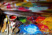 Artist oil paint palette — Stock Photo