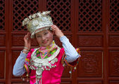Yunnan Chinese girl in national dress — Stock Photo