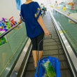 Woman with shopping bags in a store on the stairs — Stock Photo #29640069