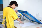 Silk-screen printing on plastic — Stock Photo
