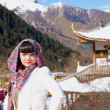 Beautiful asian girl on mountains scenery — Stock Photo