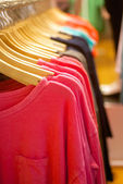 Womens t-shirts hanging in trendy boutique — Stock Photo