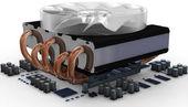 CPU fan on radiator — Stock Photo