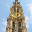 Towers of Cathedral Of Our Lady in Antwerp behind historical buildings - Stock Photo