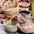 图库照片: Artisanal baskets sold on street markets in Europe
