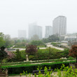 Botanique - big garden in center of brussels in misty spring day — Stock Photo