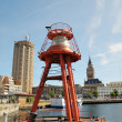 Movable floating lighthouse in Dunkerque marina prepared for a move — Stock Photo