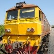 old train on death railway between thailand and burma on the bridge through river kwai — Stock Photo