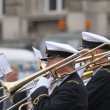 Navy orchestra takes part in yearly military parade during National Day of Belgium — Stock Photo