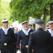 Belgian Navy veterans meet in Parc de Bruxelles during National Day of Belgium — Stock Photo