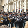Stock Photo: Military orchestra participates in defile during National Day of Belgium