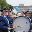 Stock Photo: Police orchestrtakes part in yearly military parade during National Day of Belgium on July 21, 2009 in Brussels.