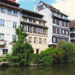 Stock Photo: View from channel of Petit France area in Strasbourg in summer