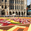 Tourists from the entire world arrive to see african theme Flower Carpet on Grand Place — Stock Photo