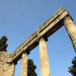 Angle view of columns on entry of house in Pompeii, Italy - Stock Photo