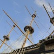 Medieval fashion ship in old port of Genova is a tourist attraction - Stock Photo