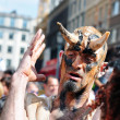 Unknown participant plays his role of a devil during Zinneke Parade on May 19, 2012 in Brussels — Stock Photo