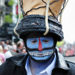Unknown participant shows his mystic makeup at Zinneke Parade on May 19, 2012 in Brussels, Belgium — Stock Photo