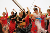 Unidentified performers show Spanish dance during EuroFeria Andaluza — Stock Photo