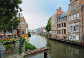 Channel in center of Ghent, Belgium in evening — Stock Photo