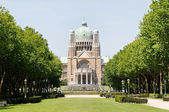 Koekelberg basilica one of architectural symbols of Brussels, Belgium, view from park Elisabeth — Stock Photo