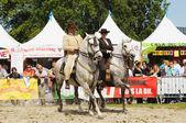 身份不明的执行者显示在 euroferia andaluza 期间他们骑马的程序 — 图库照片