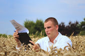 Agriculture scientist or student in the field — Stock Photo
