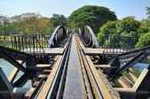 Death Railway between Thailand and Burma.Bridge though river Kwai — Stock Photo