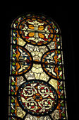Medieval stained glass window in church in Maastricht, Netherlands — Stock Photo