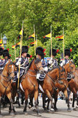 Belgian Cavalry moves to Place des Palais during military parade of National Day of Belgium — Stock Photo