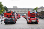 Belgian Firefighters participate in a parade during National Day of Belgium — Stock Photo