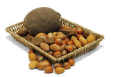 Nuts from different countries in artisan tray — Stock Photo