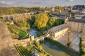 Sunset in center of Luxembourg with ancient ruins — Stock Photo