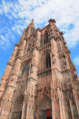 Angle view of tower of Cathedral in Strasbourg built from pink stones — Stock Photo