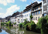 Panorama of tourist area Petit France in Strasbourg, France in sunny day — Stock Photo