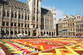 Thousands of tourists from the entire world come to see african theme Flower Carpet on Grand Place — Stock Photo
