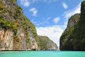 Limestone islands near Phuket and calm azure sea — Stock Photo