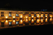 Night view of Vauban Dam in Strasbourg, France done with long exposure — Stock Photo