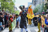Unknown participants show their mystic performance at Zinneke Parade on May 19, 2012 in Brussels — Stock Photo