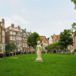 Historical area in center of Amsterdam, Netherlands with medieval houses and a parc - Stock Photo