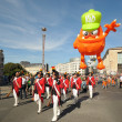 BRUSSELS, BELGIUM-SEPTEMBER 8: Defile of giant cartoon characters in Balloons Day Parade arrive to Place de l'Albertine on September 8, 2012 in Brussels. - Stock Photo
