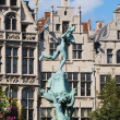 Historical Brabo fountain on Grote Markt in Antwerp, Belgium - Stock Photo